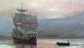 Mayflower in Plymouth, von William Halsall (1882)