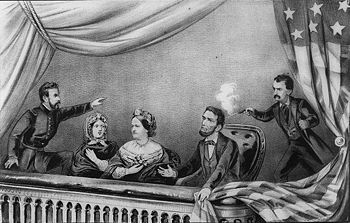 Lithografie des Attentats auf Lincoln; v.l.n.r.: Henry Rathbone, Clara Harris, Mary Todd Lincoln, Abraham Lincoln und John Wilkes Booth
